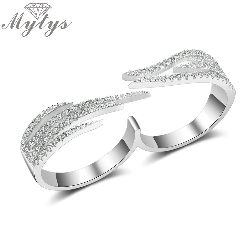 Mytys Double Finger Ring Pave Setting Zircon Fashion Jewelry size 6 7 8 Adjustable Open Cuff Two Finger Ring For Women R2012 equte rssw30c1s7 fashionable titanium steel two zircon women s ring silver white us size 7