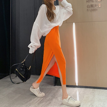 2 Piece Skirt Set Summer Clothes for Women Two Piece Outfits Sets Sexy Halter Long Sleeve Shirt + Orange Side Split Long Skirt цена