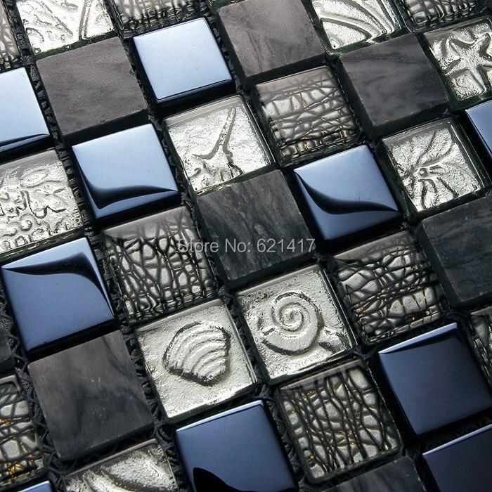 Metallic Pool Tile : Popular black glass backsplash buy cheap