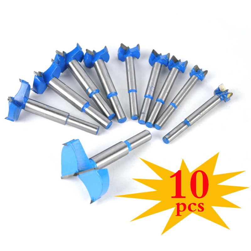 10PCS 16-50mm New Blue Auger Drill Bit Set Wood Drilling Woodworking Hinge Hole Saw Window Wooden Cutting Tool Full Steel Drills 5 pcs set auger drill forstner bit set hinge boring woodworking hole saw cutter round shank wood tools for drilling machine