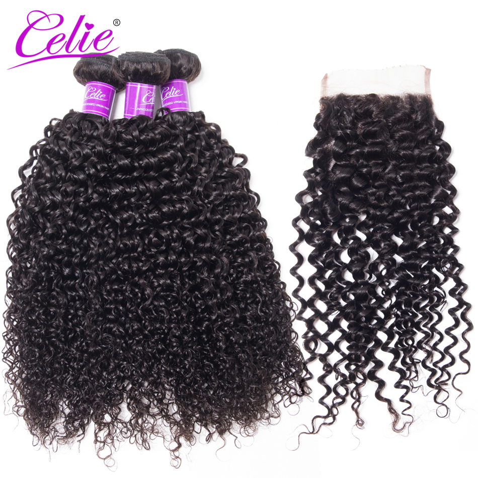 Celie Hair Curly Bundles With Closure Human Hair Weave 3 Bundles With Lace Closure Remy Brazilian Hair Bundles With Closure