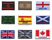 Country Flag Patches Embroidered Israel Canada Spain UK British England Scotland World Flags Badges for Clothing with Hook&Loop