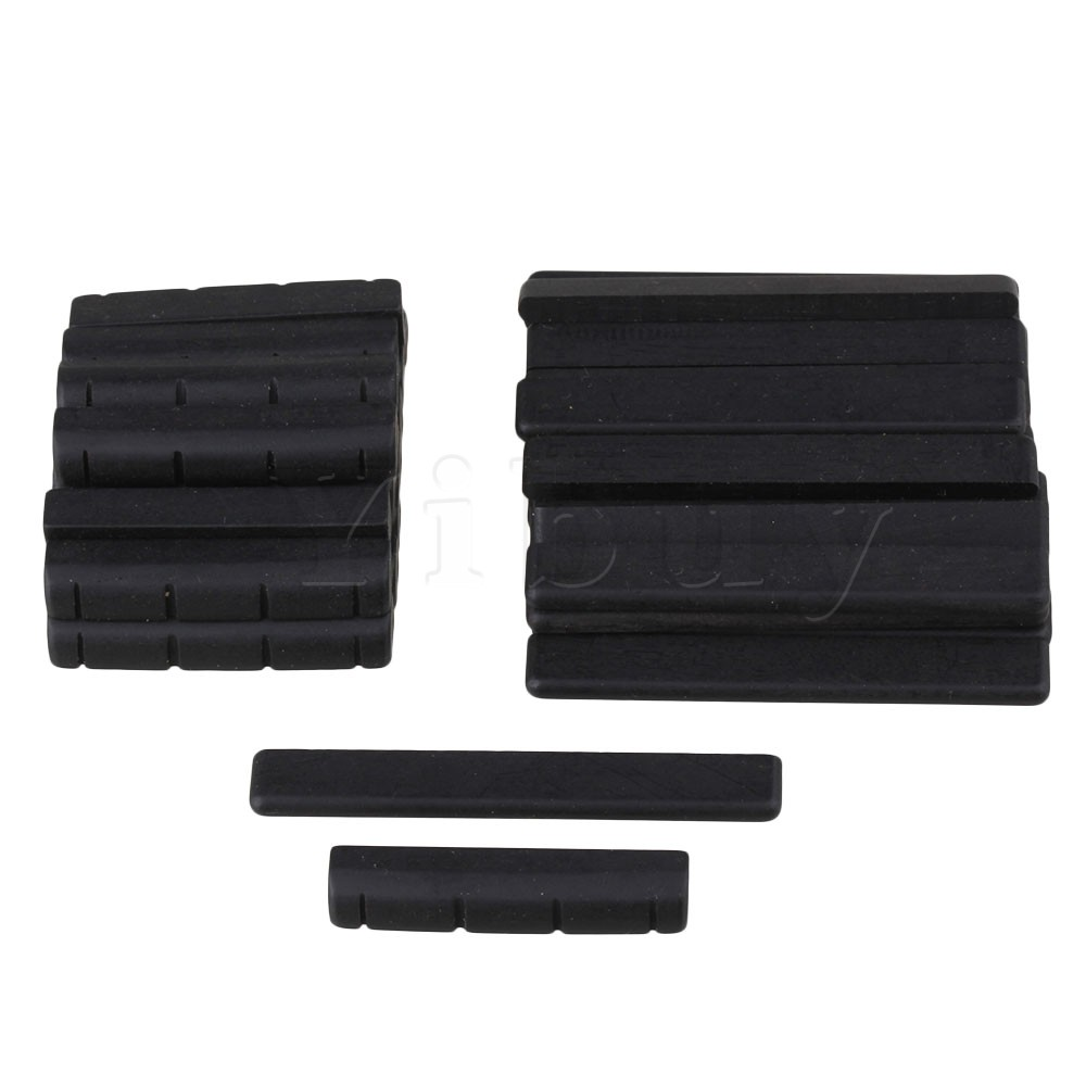 Yibuy 20x Black Ebony Bridge Saddles and Nuts for 4 Strings Guitar Replacement black bridge