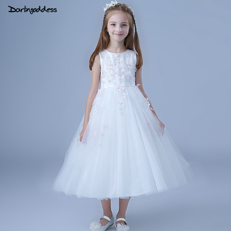 2018 White Lace Flower Girls Dresses for Weddings Kids Pageant Birthday Formal Party Long Dress First Communion Dress Prom Gown