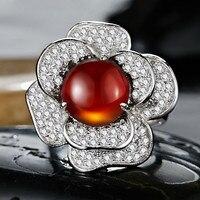 Natural Garnet Ring 925 Sterling silver Camellia Rose Flower Woman Girl Fine Elegant Jewelry Birthstone Valentine Christmas Gift
