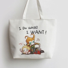 i do what want thor loki Anime Canvas Tote bags Cartoon Shopping bag Shopper Grocery Bag GA533