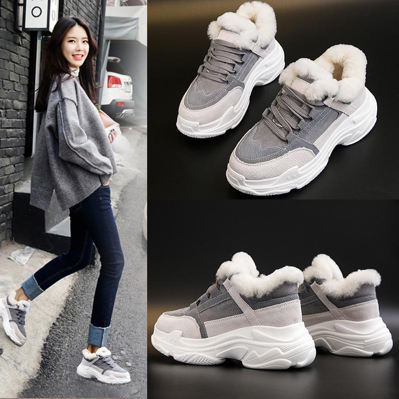 Gris De Casual Mode 2018 Neige jaune Femme Chaud Sneaker Bottes Plat Filles D'hiver Chaussures Fourrure Femmes Up Lace wC7xCra