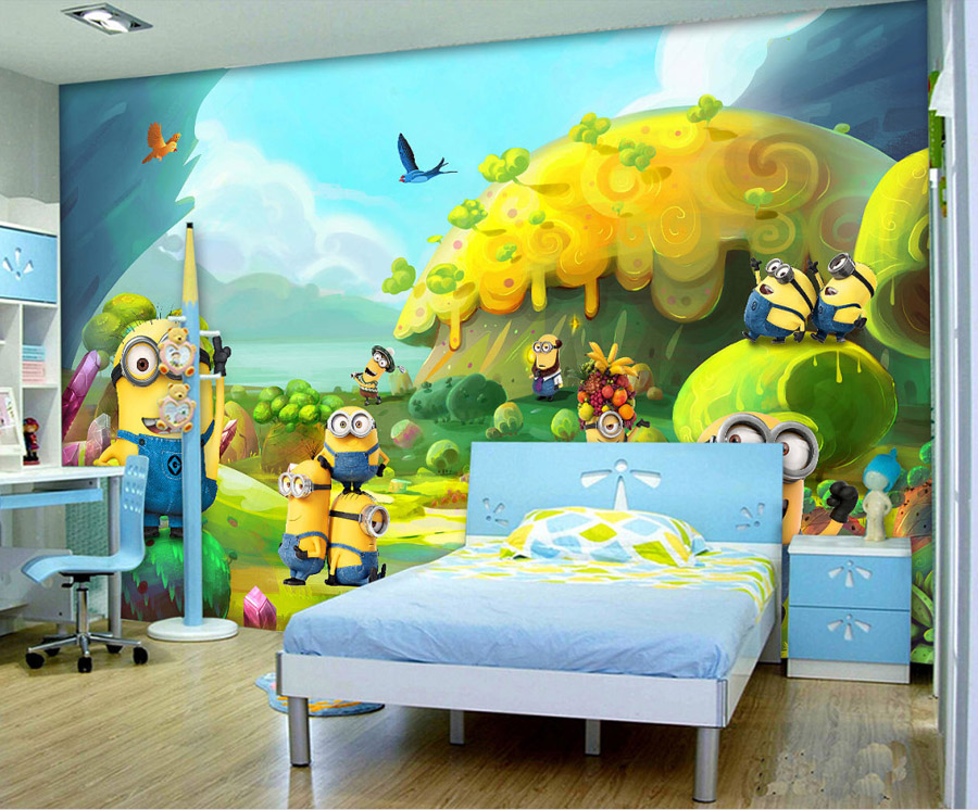 US $17.54 35% OFF|Cartoon Photo wallpaper Minions Wallpaper Custom 3D Wall  Mural Kids Bedroom Decor Children\'s Playground Despicable Me wallpaper-in  ...