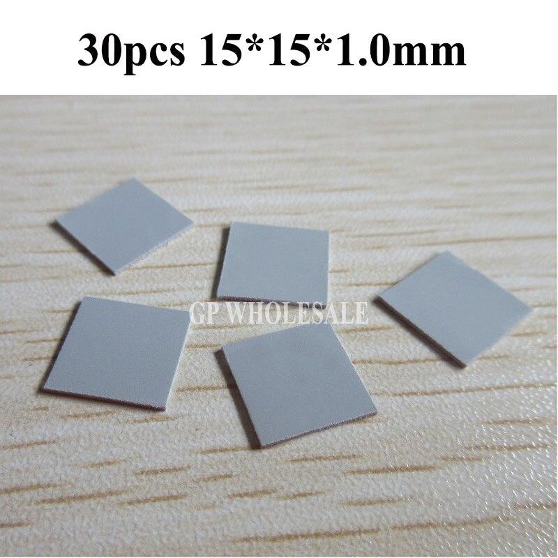 Rarido 30pcs 15mm15mm1mm Thermal Pad GPU CPU Heatsink Cooling Conductive Silicone Pad