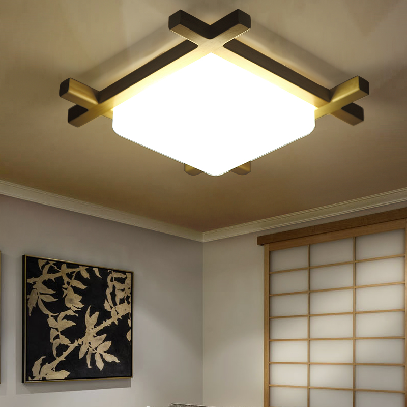 Nordic Wooden LED Ceiling Lights Glass Modern Concise Ceiling Lamp Wood Fixtures For Hom ...
