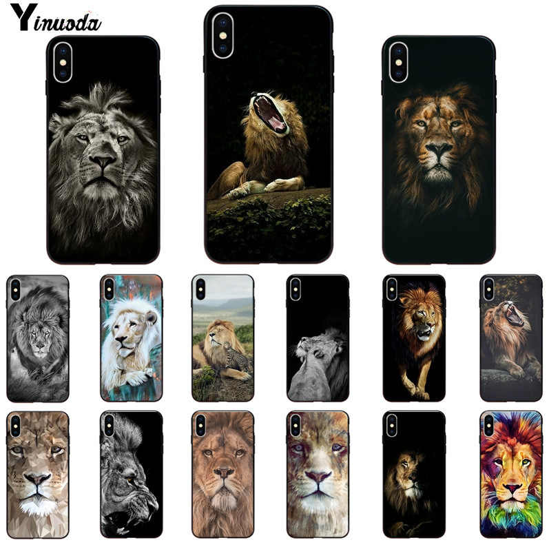 Yinuoda Animal king tiger en leeuw Patroon TPU Soft Phone Case voor iPhone X XSMAX 6 6S 7 7plus 8 8Plus 5 5S XR 11 11pro 11promax
