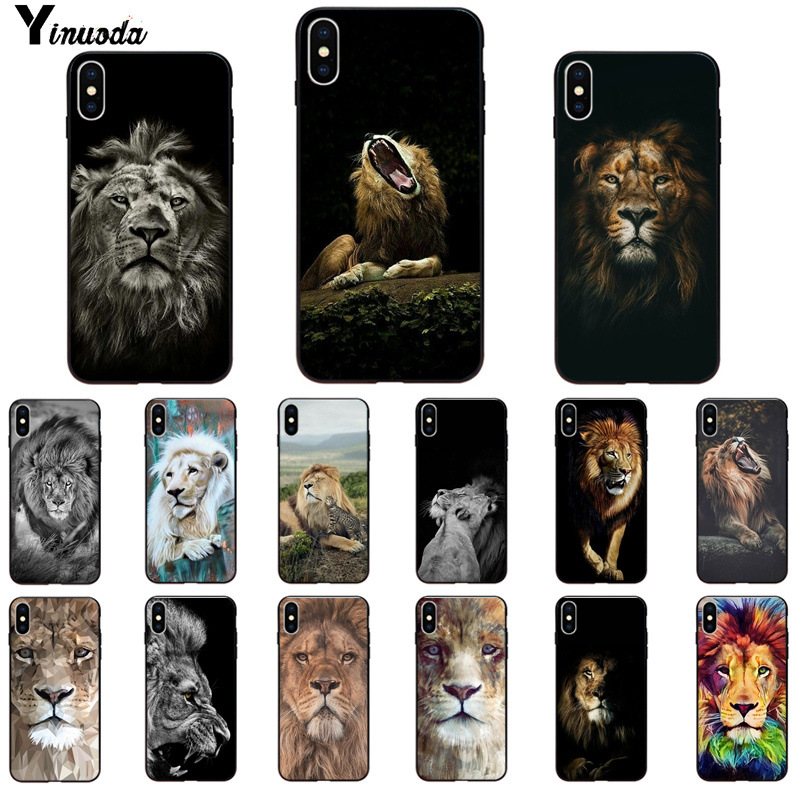 Yinuoda Animal <font><b>king</b></font> tiger and <font><b>lion</b></font> Pattern TPU Soft Phone <font><b>Case</b></font> for <font><b>iPhone</b></font> X XSMAX <font><b>6</b></font> 6S 7 7plus 8 8Plus 5 5S XR 11 11pro 11promax image
