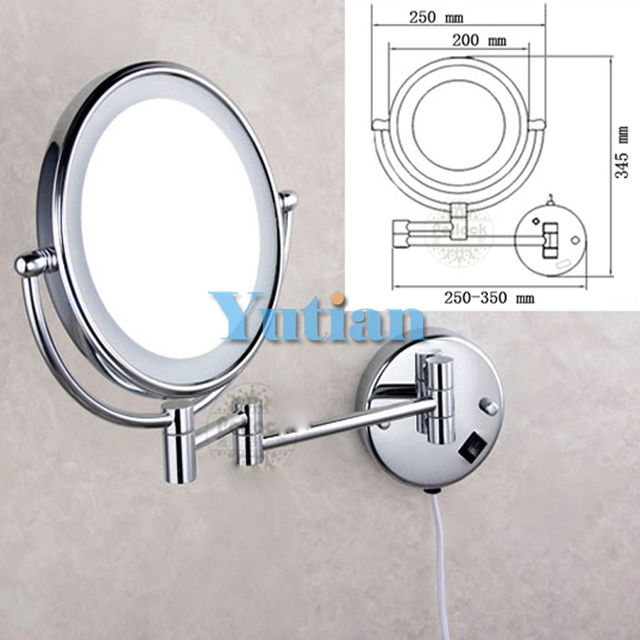 "Free shipping LED light makeup mirrors 8"" round dual sides 3X /1X mirrors dual arm extend cosmetic wall mount magnifying mirror"