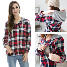 Pure cotton Nursing tops Maternity plaid Hoodie shirts breastfeeding clothes spring and autumn casual feeding pregnant