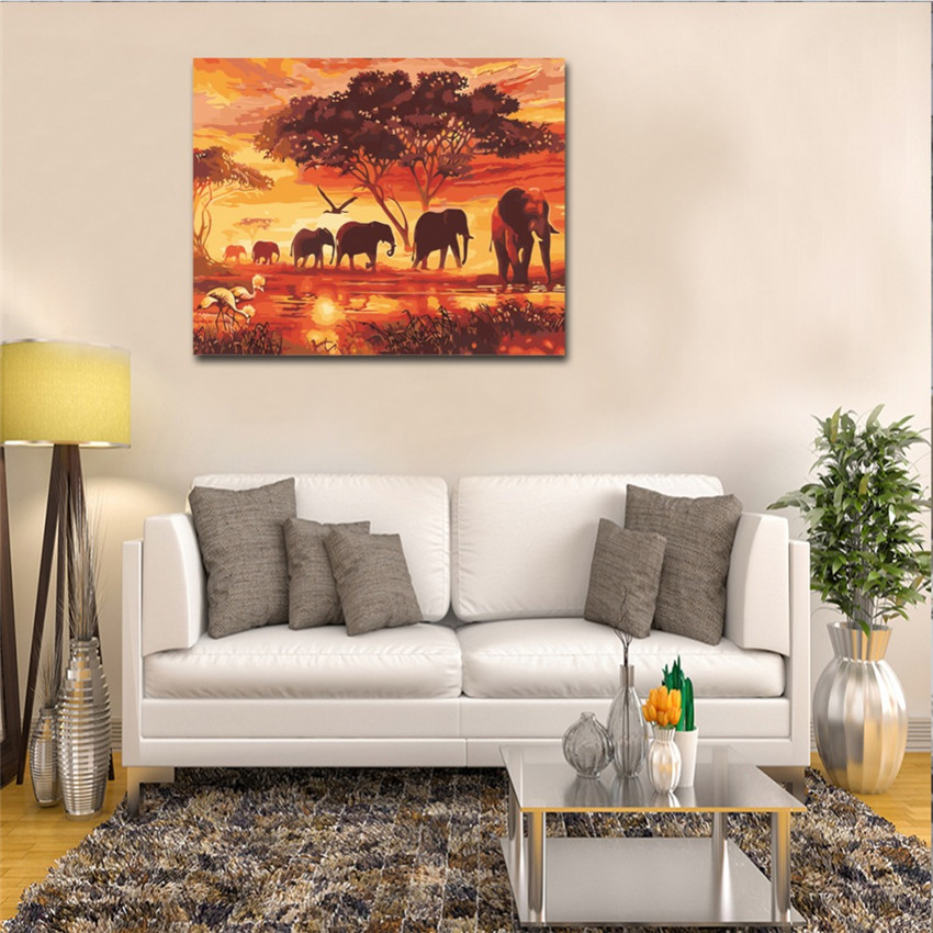 WEEN Dusk Elephant Group Diy Painting By Numbers Abstract Forest Oil Painting On Canvas Cuadros Decoracion Acrylic Wall Art 2018 in Painting Calligraphy from Home Garden
