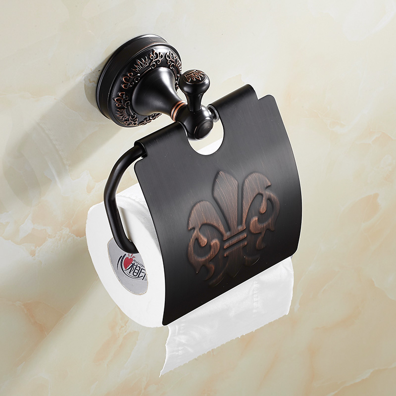 ФОТО European Black Copper Tissue Roll Holder Vintage Brushed Toilet Paper Holder Paper Box Wall Mounted Bathroom Accessories j33