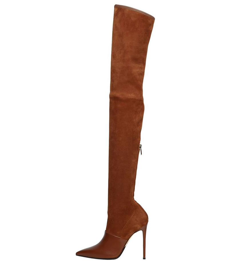 buy best pretty cool separation shoes US $95.99 |Women's High Heel Pointed Toe Black Over the Knee Thigh High  Boots Ladies Camel Stretch Suede Spring Autumn Shoes Large Size-in ...