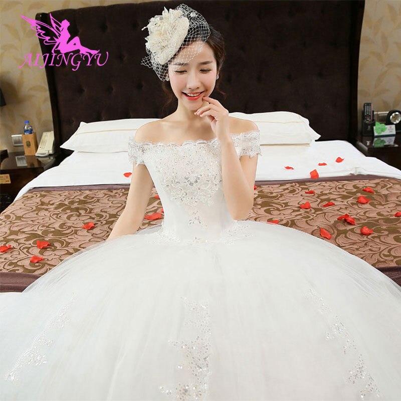 AIJINGYU 2018 Beautiful Free Shipping New Hot Selling Cheap Ball Gown Lace Up Back Formal Bride Dresses Wedding Dress WU108