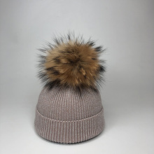 2019 Big Ball Skullies Beanies Hats For Kids Winter Real Fur Pompoms Knitted Warm Caps Child Casual Hat Gorros
