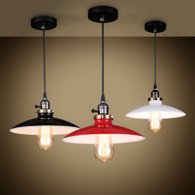 European Vintage Black White Red Iron Art Pendant Lights Industry Style E27 Led Hang Lamps For Dining Room Porch Stairs Cydd008a