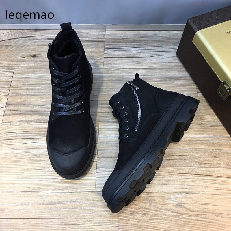 Фото New Fashion Winter Man Martin boots Warm Shoes Fur Inside Men High-Top Genuine Leather Luxury Brand Snow Boots Flats Shoes 38-44