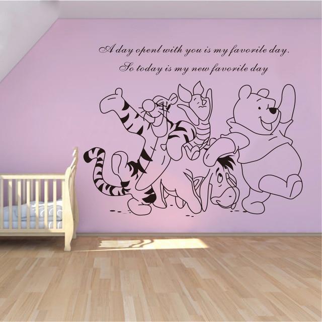 Muurstickers Winnie The Pooh Zwart Wit.Us 8 0 10 Off Winnie De Pooh En Zijn Pals Cartoon Baby Muurstickers Woondecoratie Vinyl Verwijderbare Muurstickers Kids Muurstickers In Winnie De