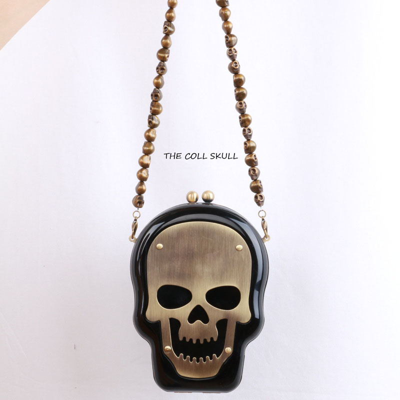 Fashion Women's Clutches Bags Cool Skull Acrylic Clutch Wallet Shoulder Bags Pouch Party Messenger Purse Evening Bag S112 fashion lady with glasses white acrylic women metal box clutches evening party totes handbag purse casual shoulder crossbody bag