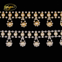 1 YD White pearl Zircon Glass Rhinestones chain Handicrafts wedding decoration Water droplets DIY Rhinestone Applique trim