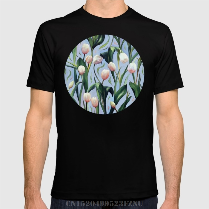 Summer black friday men t shirt Waiting on the Blooming - a Tulip Pattern Short Cotton anime tees homme Clothing