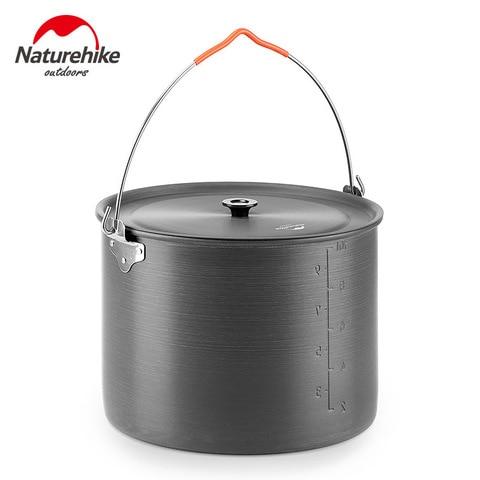 naturehike ourdoor cozinhar 10l grande capacidade pendurado pote utensilios pote de liga de aluminio portatil