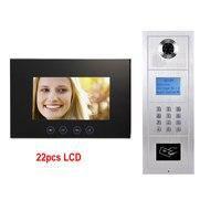 7 Inch LCD Monitor Alloy Color HD IP55 Waterproof Camera Digital Multi Apartment Building Video Doophone
