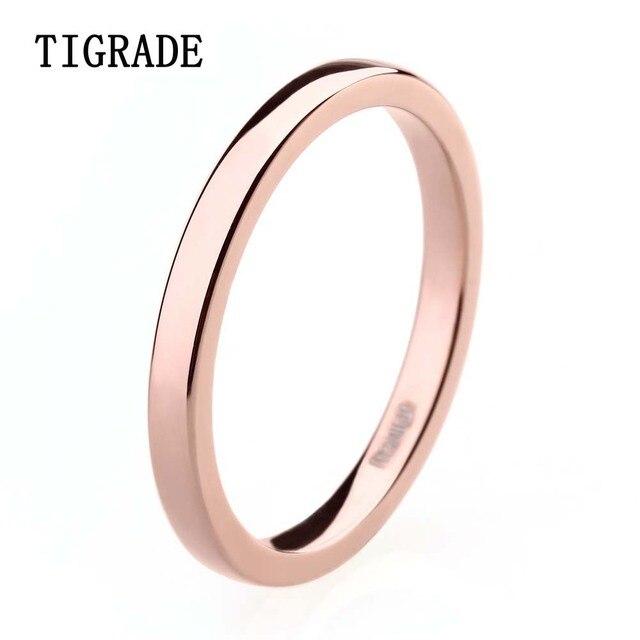 TIGRADE High Polished 2mm Women Titanium Ring Rose Gold Inlay Wedding Rings Engagement Band Anel Feminino