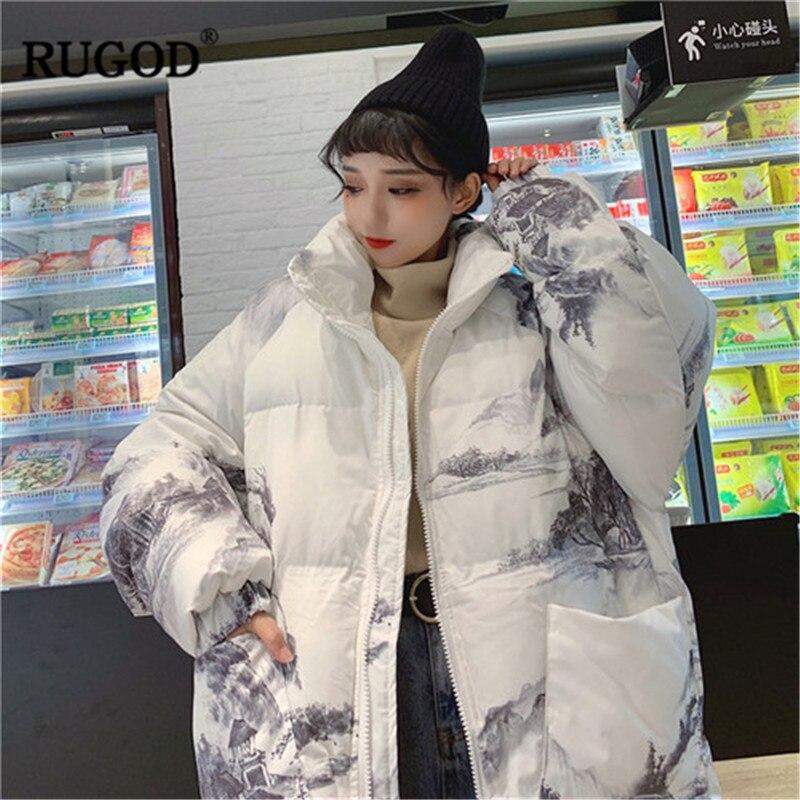 Hiver Blanc Manches Femmes Main Longues Manteaux 2018 Manteau Automne Casual Casaco peint Style À Rugod Japon Dames Harajuku Feminino HSREp