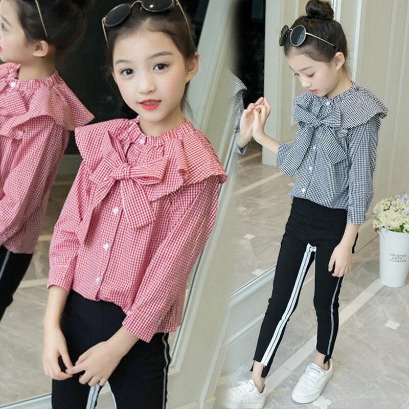 Toddler Girl Clothes Set 2018 New Fashion Long Sleeve Plaid Blouse + Pant 2pcs Kids Clothing Set 4 5 6 7 8 9 10 11 Fall Clothes все цены