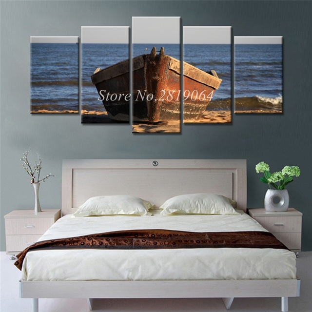 Superb Drop Shipping Canvas Prints Painting Ship On The Sea 5 Pieces Home Decor  Frameless Wall Art