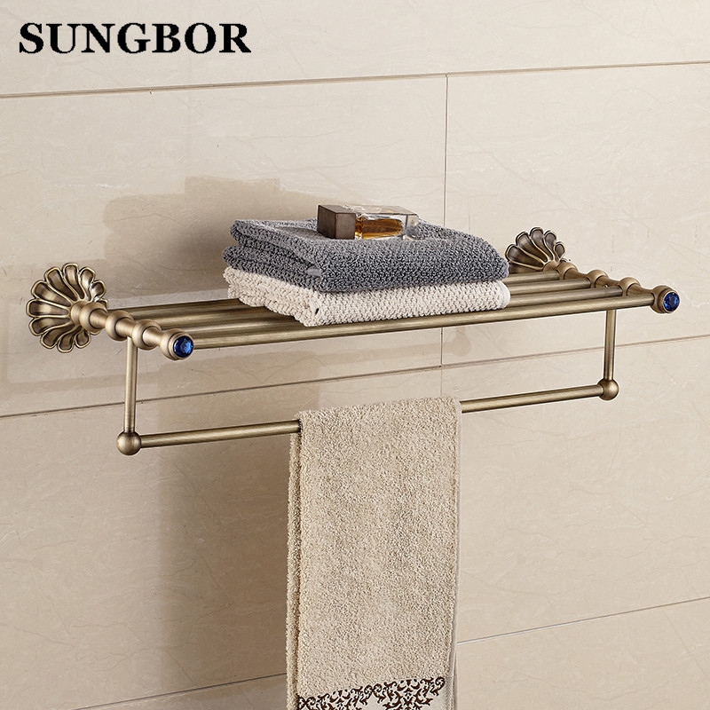 Antique Fixed Bath Towel Holder Wall Mounted Towel Rack 60 cm Brass Towel Shelf Bathroom Accessories Luxury Brass Towel Rail high quality oil black fixed bath towel holder brass towel rack holder for hotel or home bathroom storage rack rail shelf