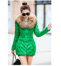 L 3XL 6 Colors Women Lady Fur Collar Cotton Padded Winter Coat Thick Warm Jacket Overcoats