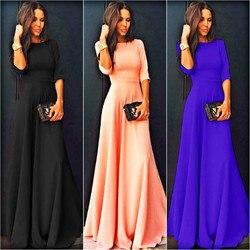 2018 Summer Sexy Elegant Women Half Sleeve Slim Empire O-neck Vestido Evening Formal Party Prom Long Maxi Dress Plus Size S-2XL 1
