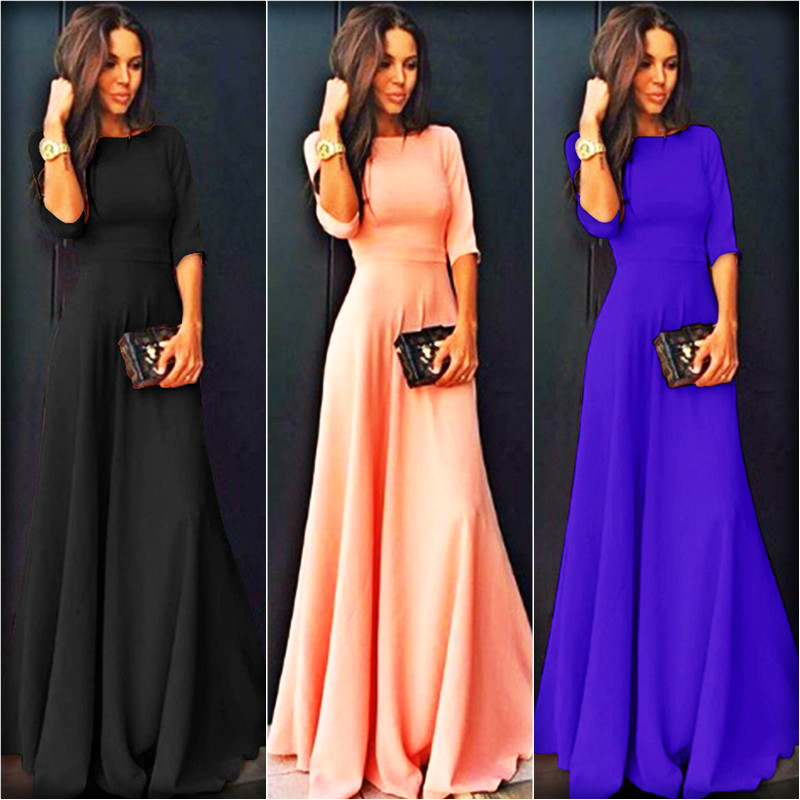 2018 Summer <font><b>Sexy</b></font> Elegant <font><b>Women</b></font> Half Sleeve Slim Empire O-neck Vestido Evening Formal Party Prom Long Maxi <font><b>Dress</b></font> <font><b>Plus</b></font> <font><b>Size</b></font> S-2XL image