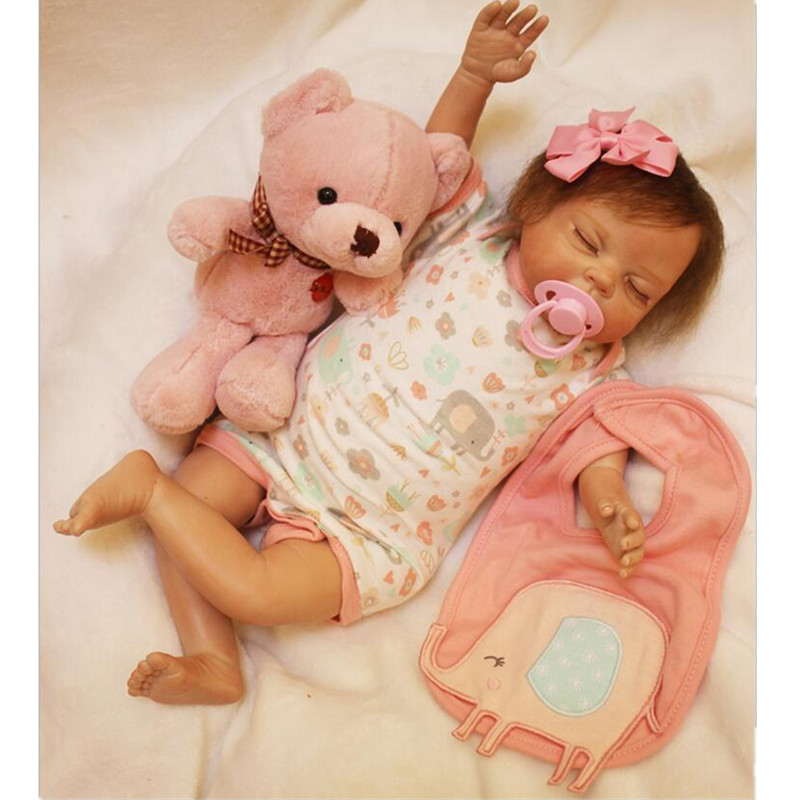 22 Inch Bebe Reborn Truly Real Lifelike Reborn Baby Doll Silicone Vinyl Newborn Babies Brinquedos Kids Birthday Christmas Gift can sit and lie 22 inch reborn baby doll realistic lifelike silicone newborn babies with pink dress kids birthday christmas gift