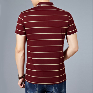 Image 2 - MIACAWOR New Slim Fit  Polo shirts Men Cotton Fashion Striped Men  Summer Short sleeve Tee shirt Homme Casual Camisa  T718
