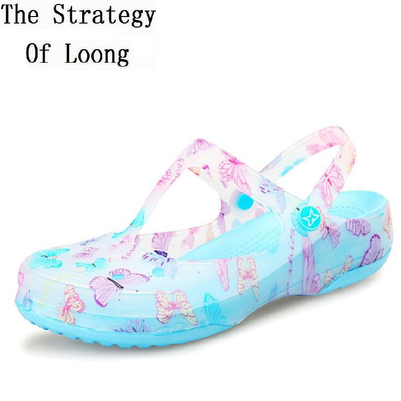 Women Floral Flat Cut Out Closed Toe Summer Jelly Shoes New Mary Jane Chunky Sole T-Strap Printing Beach Sandals 20180527