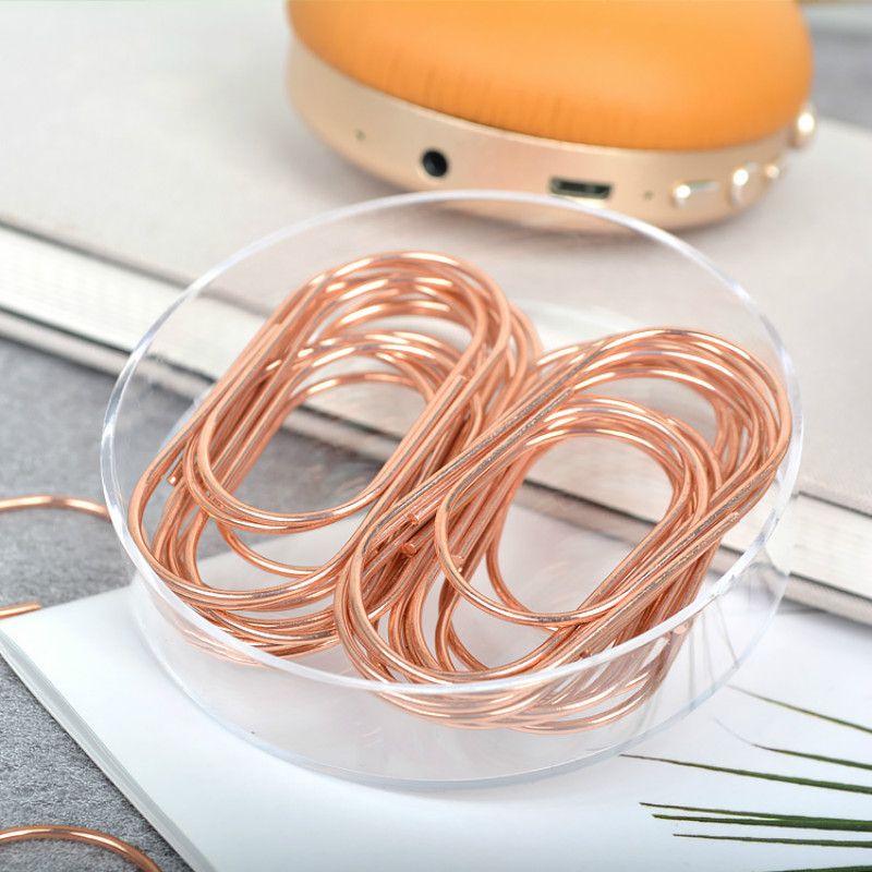 Inventions Rose Gold Fat Paper Clips Lovely Creative Pins Fashion Office Accessories Paper Clip Paperclips Metal Paper Clips
