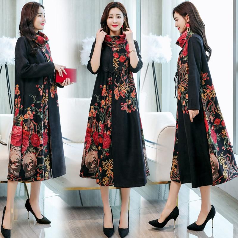 Broderie Femmes Traditionnelle Chinoise Longue Cheongsam robe qipao Rétro En Daim H1