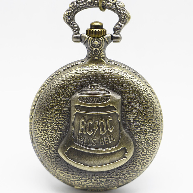 Vintage Bronze Retro Kongfu Shao Lin Temple Big ACDC Hells Bell Pocket Watch With Chain Necklace For Men