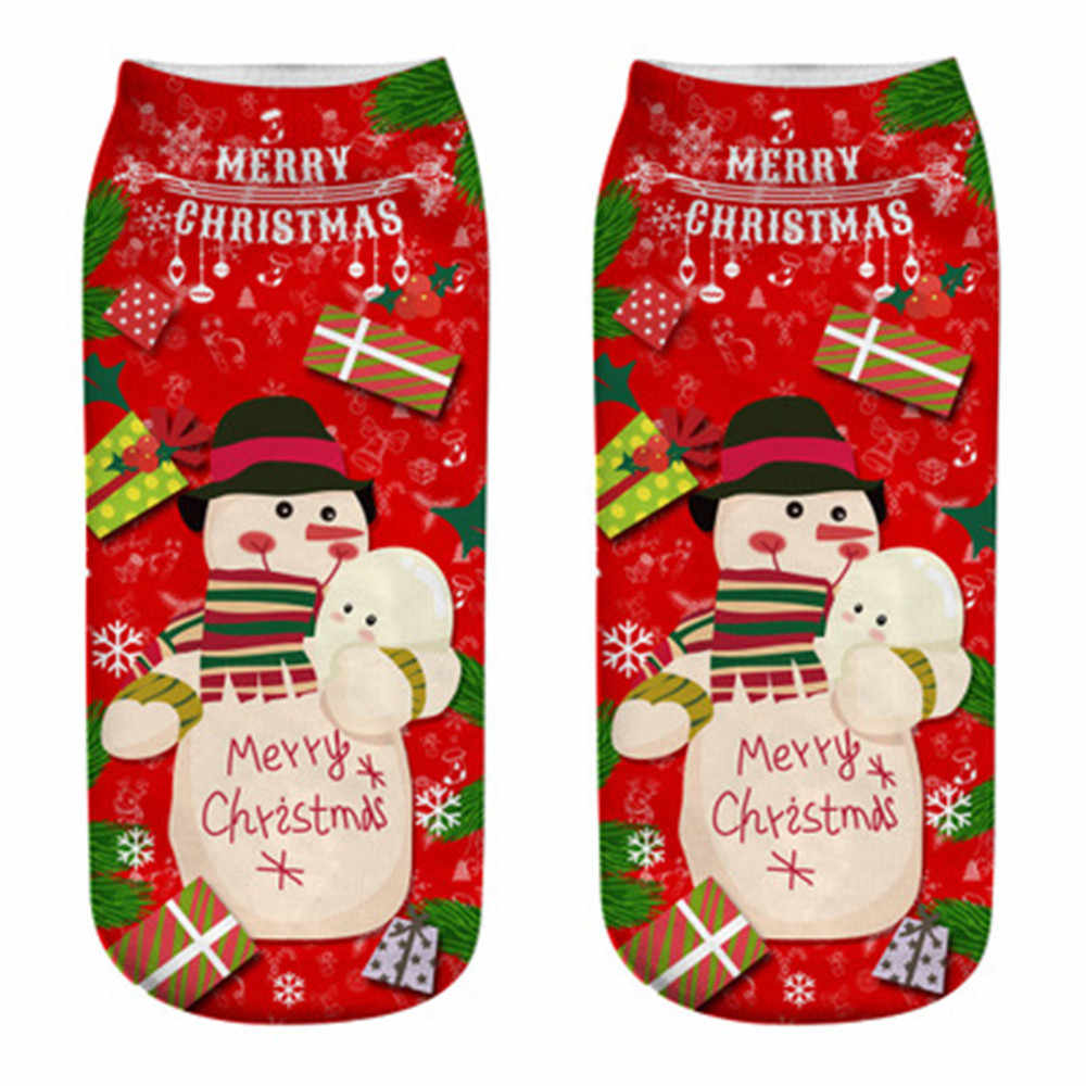 25#2019 Winter Comfortable Christmas Cotton Sock Slippers Short Print Ankle Women Men Christmas Couple Socks