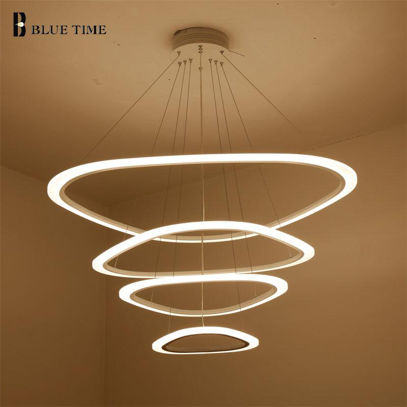 Acrylic Circle Rings White Finished Modern Chandelier Led