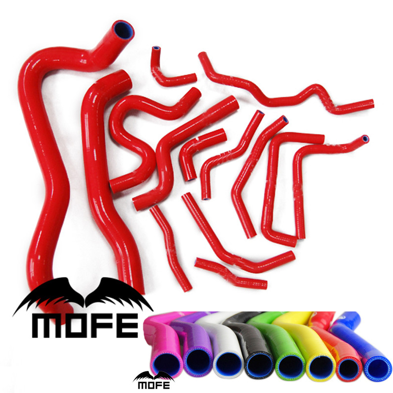 MOFE 14PCS Original Logo Radiator Heater Coolant Silicone Hose Kit For Car Civic Type R FN2 2006-2010 Red hosingtech silicone coolant turbo hose suitable for saab 9 5 2 0t 2 3t 98 2010 b205 and b235 all type red