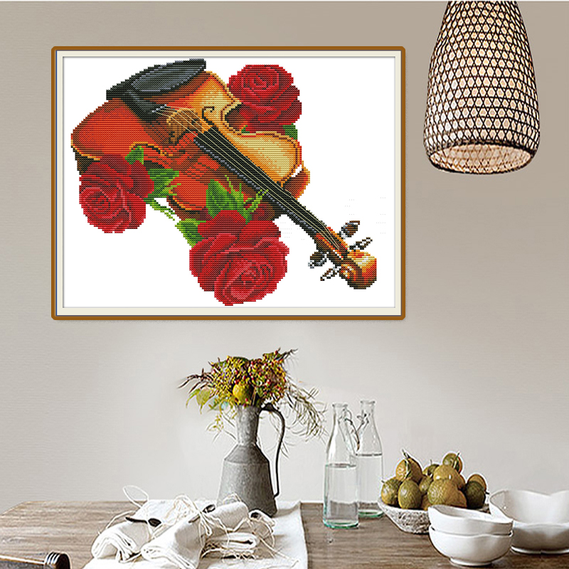 Joy Sunday Violin cross stitch embroidery set printing cloth embroidery kit needlework cross stitch pattern Chinese cross stitch in Package from Home Garden