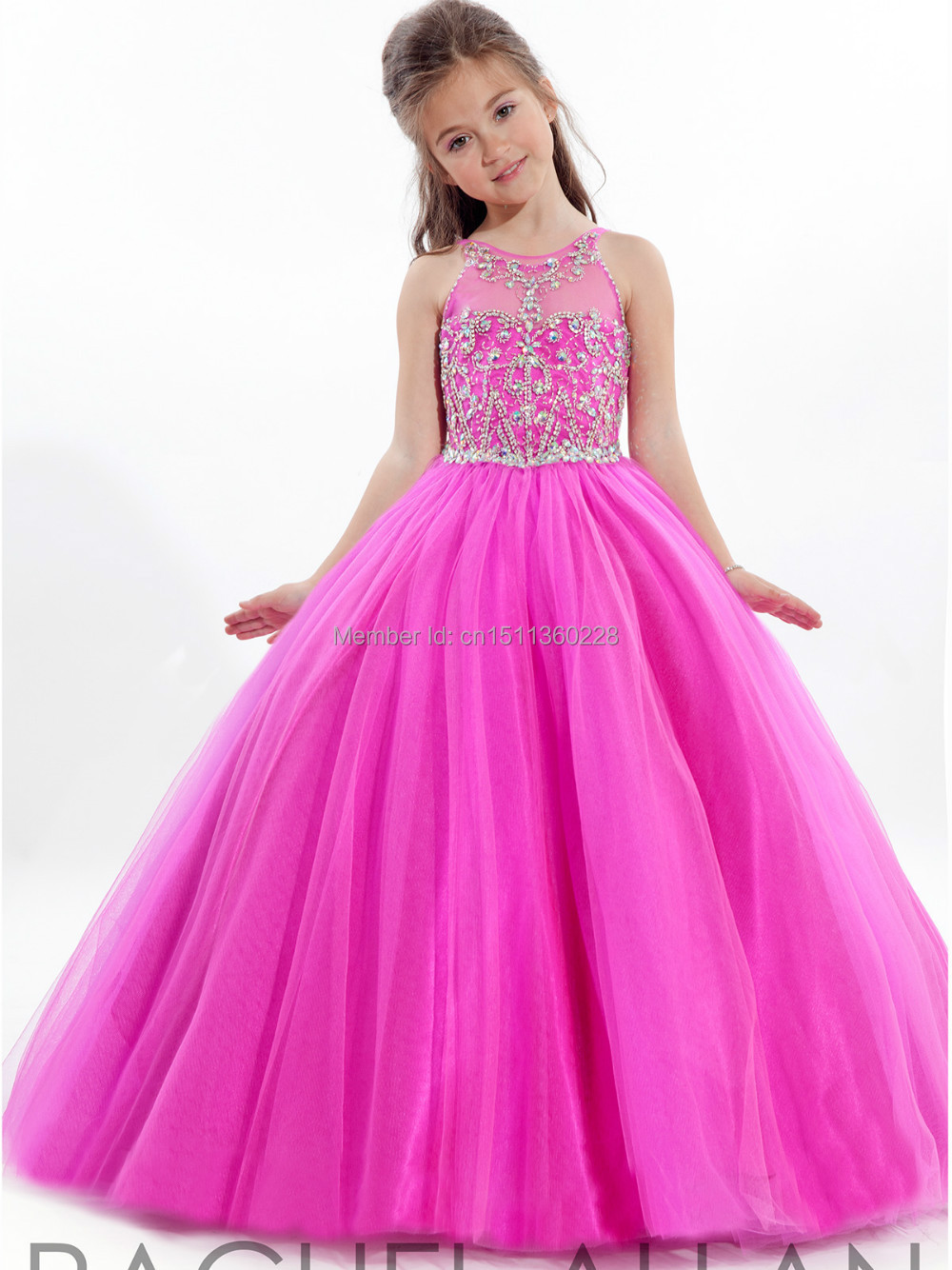 Lovely Gorgeous Handmade Beaded High Neck Girls Pageant Dresses ...